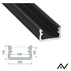 Profilé anodisé noir 2 mètres 16x9.2mm