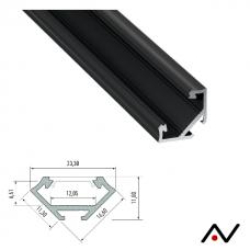 Profilé d'angle anodisé noir 2 mètres 23.3 mm