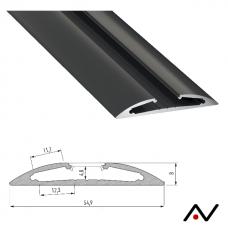 Profilé de surface Reto noir 2 mètres